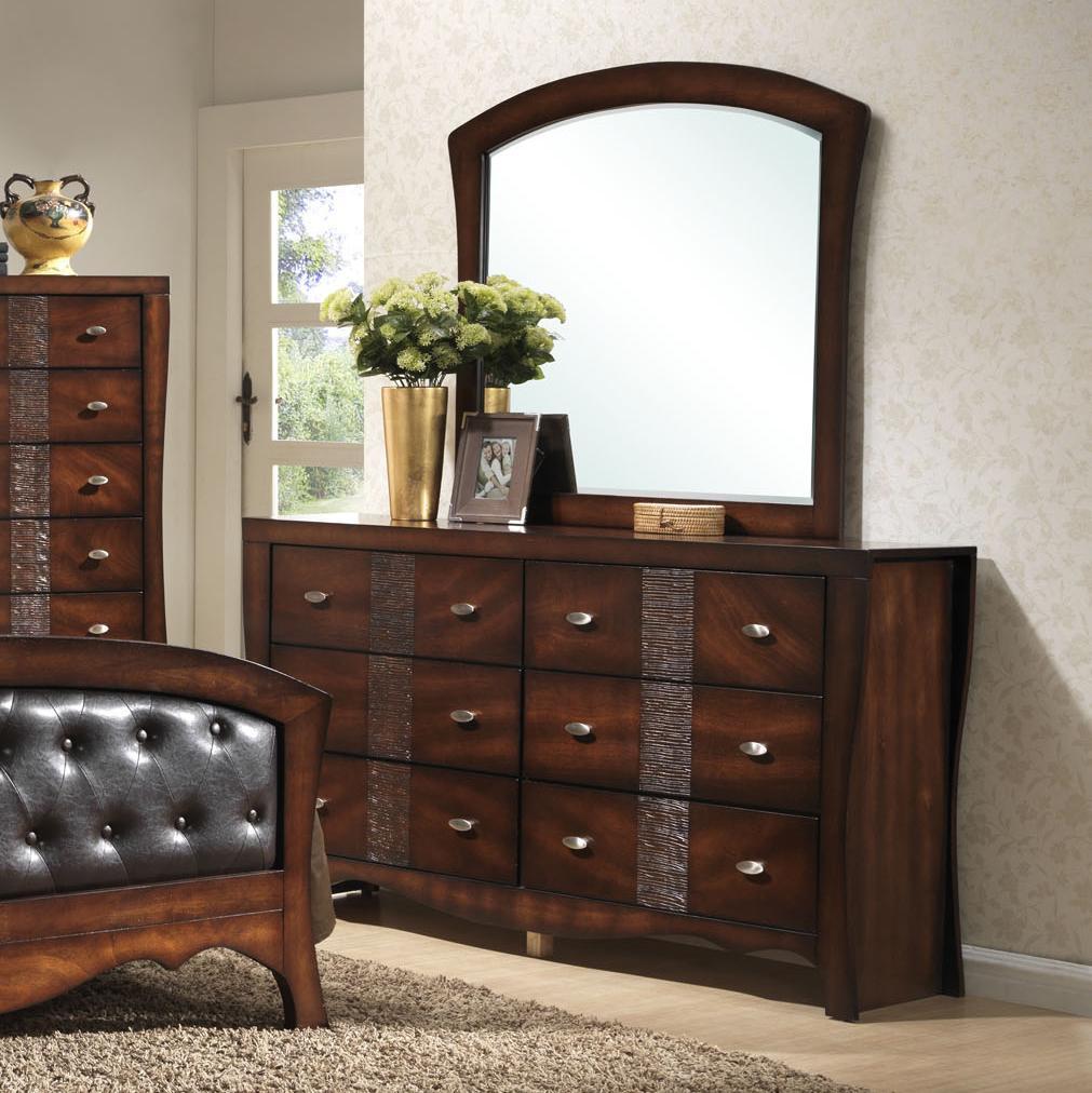 Elements Jenny 6 Drawer Dresser And Mirror Set Royal Furniture Dresser Mirror Sets