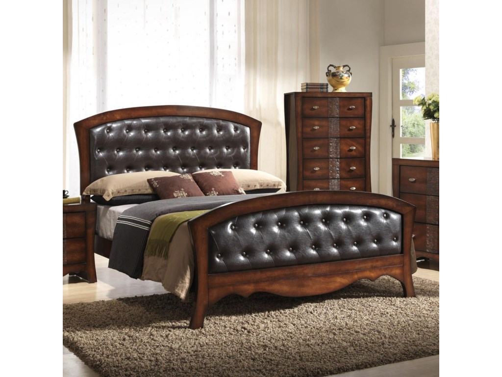 Elements Jenny Queen Panel Bed With Upholstered Headboard And