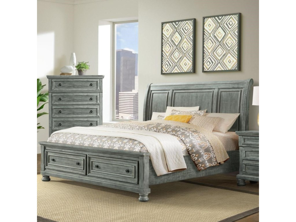 Elements Kingston Gray5 PC King Bedroom Group