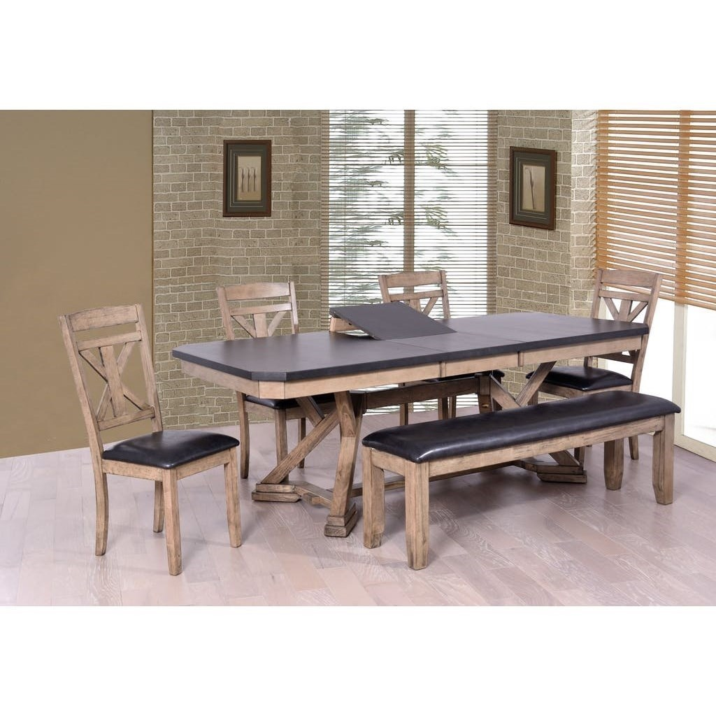 Elements International Laramie Two Tone Dining Table With Cut