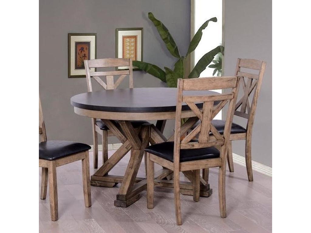 Elements International LaramieRound Dining Table