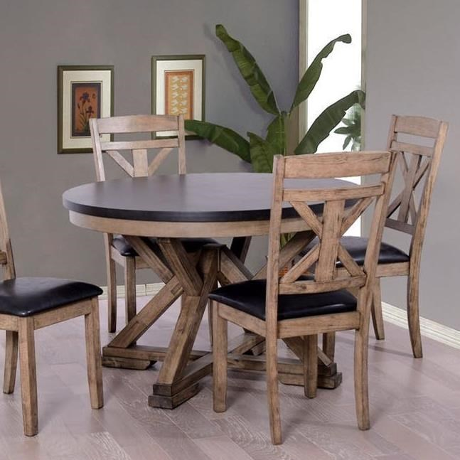 Elements International Laramie Two-Tone Round Dining Table ...