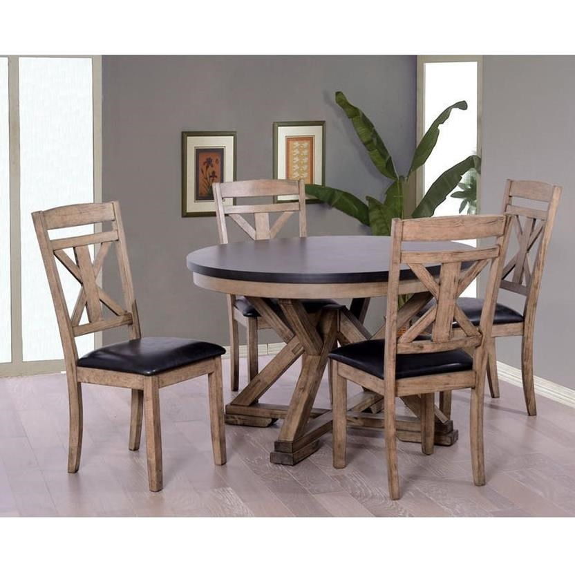 Elements international laramie rustic round table and chair set household furniture dining 5 piece sets