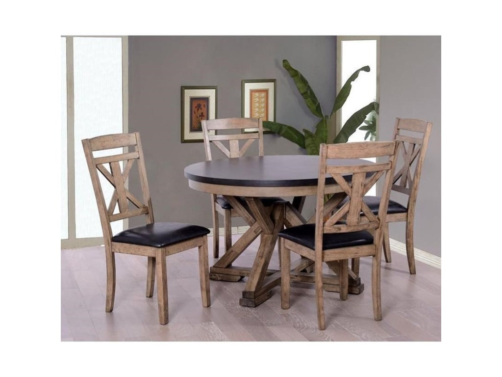 Elements International Laramie Rustic Round Table And Chair Set