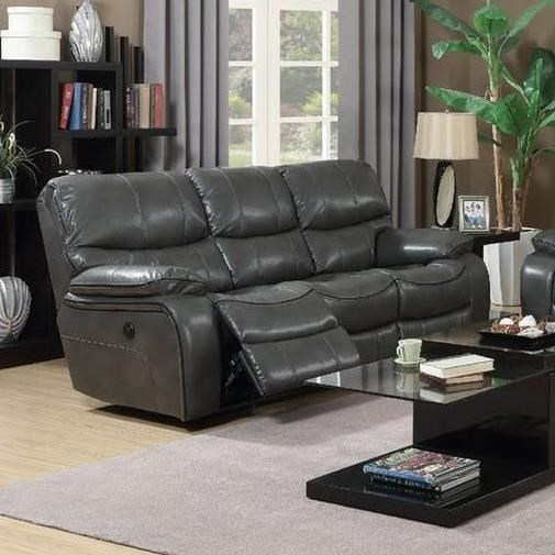 Elements International Laredo Power Reclining Sofa With Adjustable  Headrests   Miskelly Furniture   Reclining Sofas