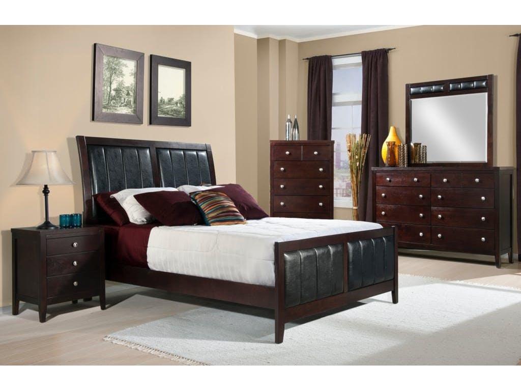 Elements International LawrenceQueen Bed, Dresser, Mirror & Nightstand
