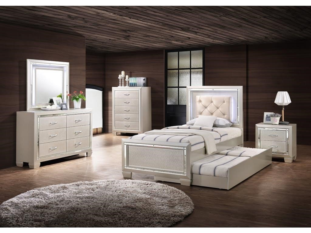 Elements International Platinum YouthTwin Upholstered Bed