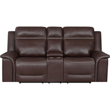 Leather Motion Console Loveseat