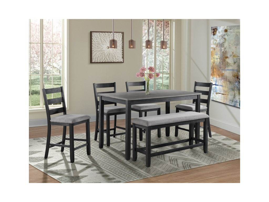 Elements Martin 6 Piece Counter Height Dining Set With Bench Royal Furniture Pub Table And Stool Sets