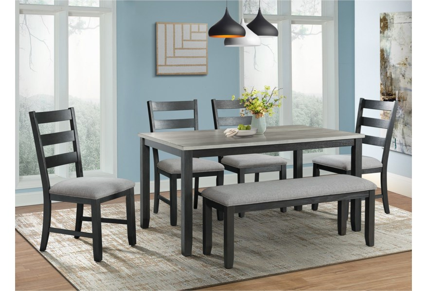 Elements International Martin Rustic Dining Table Set With Bench Lindy S Furniture Company Table Chair Set With Bench