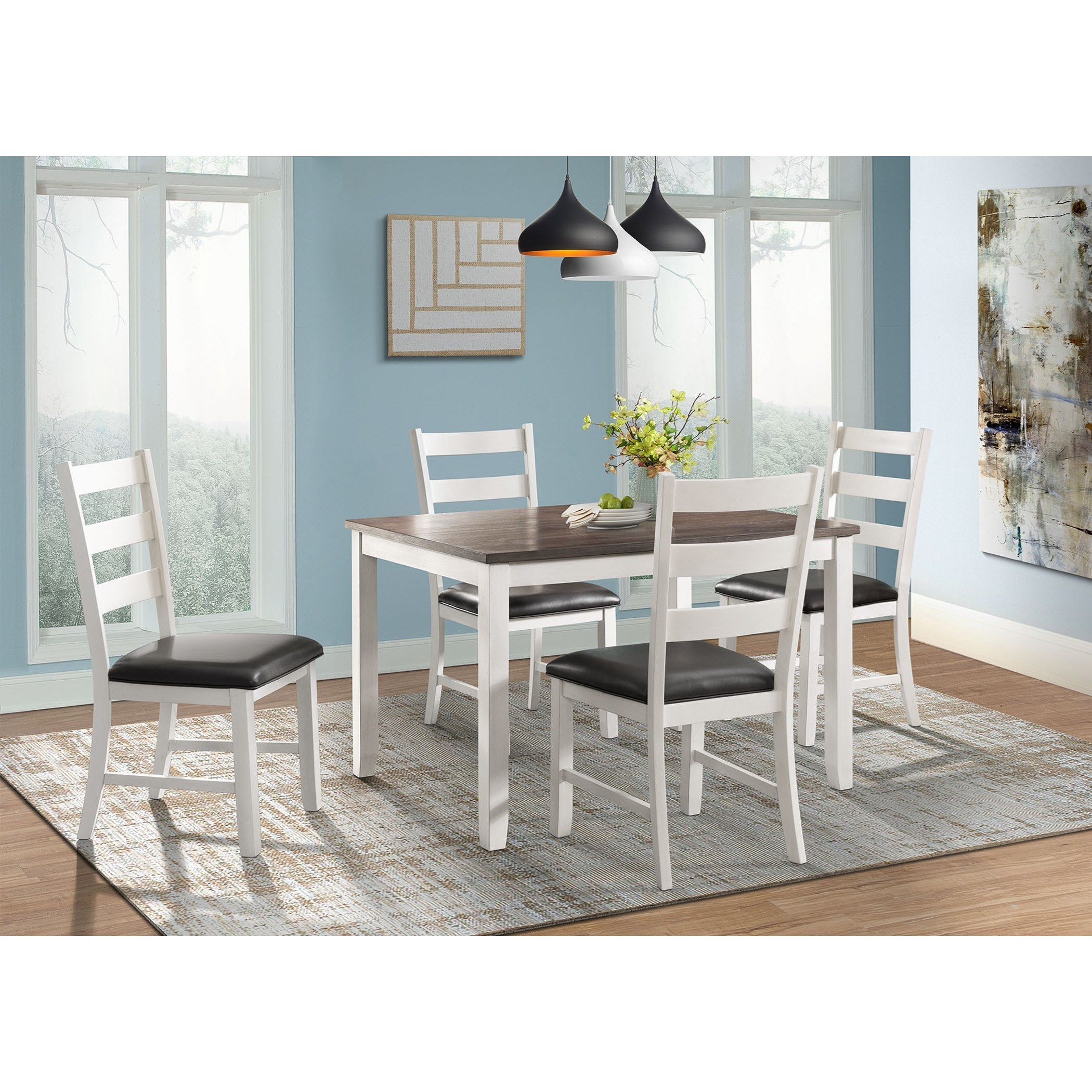 Rustic Dining Table and Chair Set for 4