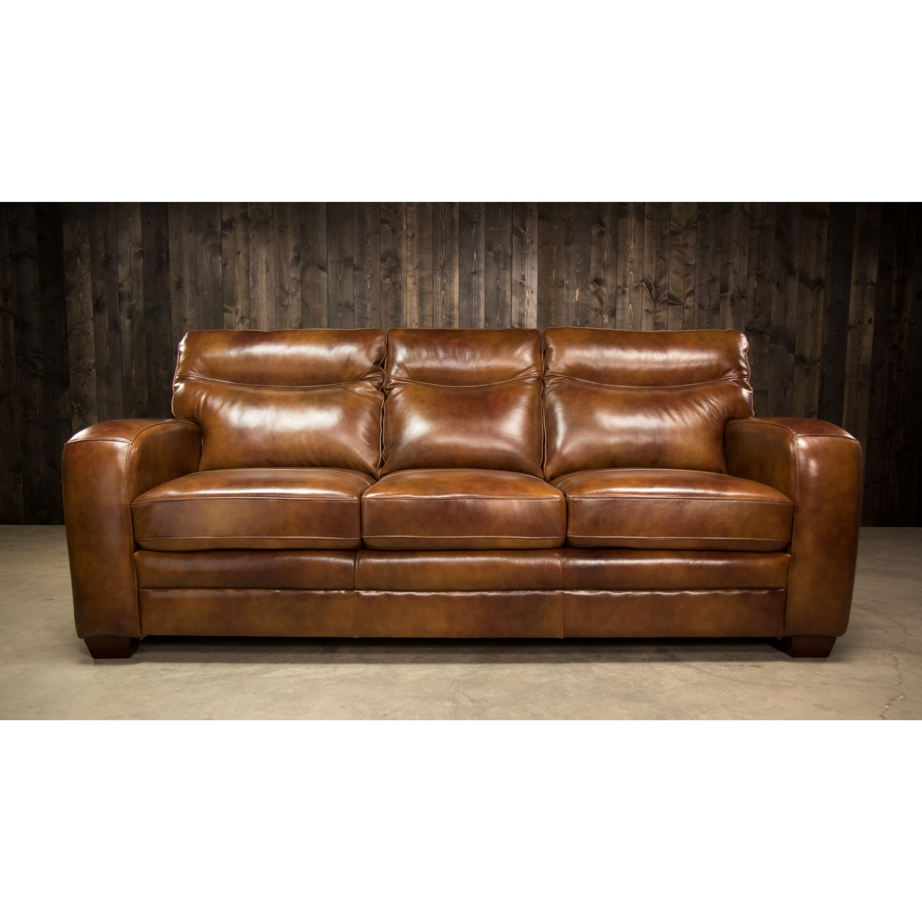 Elements International Montebello Leather Sofa With Low Profile Arms   Royal  Furniture   Sofas