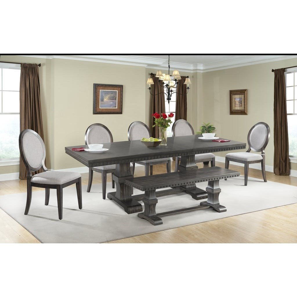 Ordinaire Elements International MorrisonTable Set With Dining Bench ...
