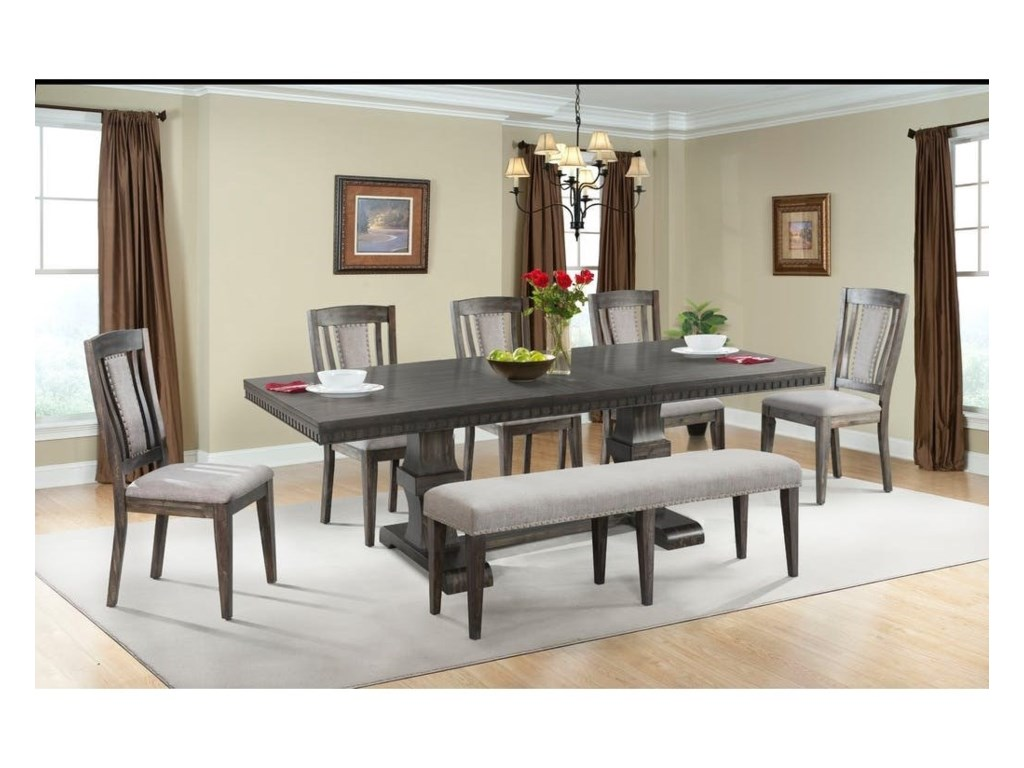 Elements International MorrisonTable Set with Dining Bench