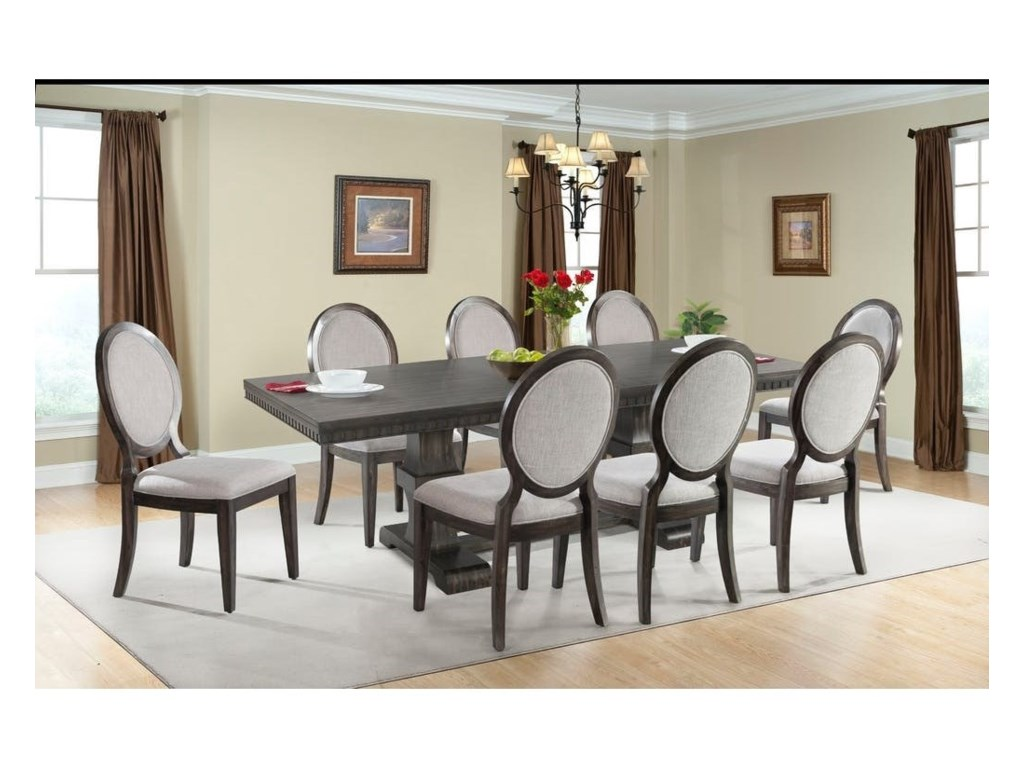 Upholstered Chairs Dining Room dining room table and chair sets luxury 6 piece trestle table set with 4 upholstered chairs dining bench Elements International Morrison Table And Upholstered Chair Dining Set John V Schultz Furniture Dining 7 Or More Piece Sets