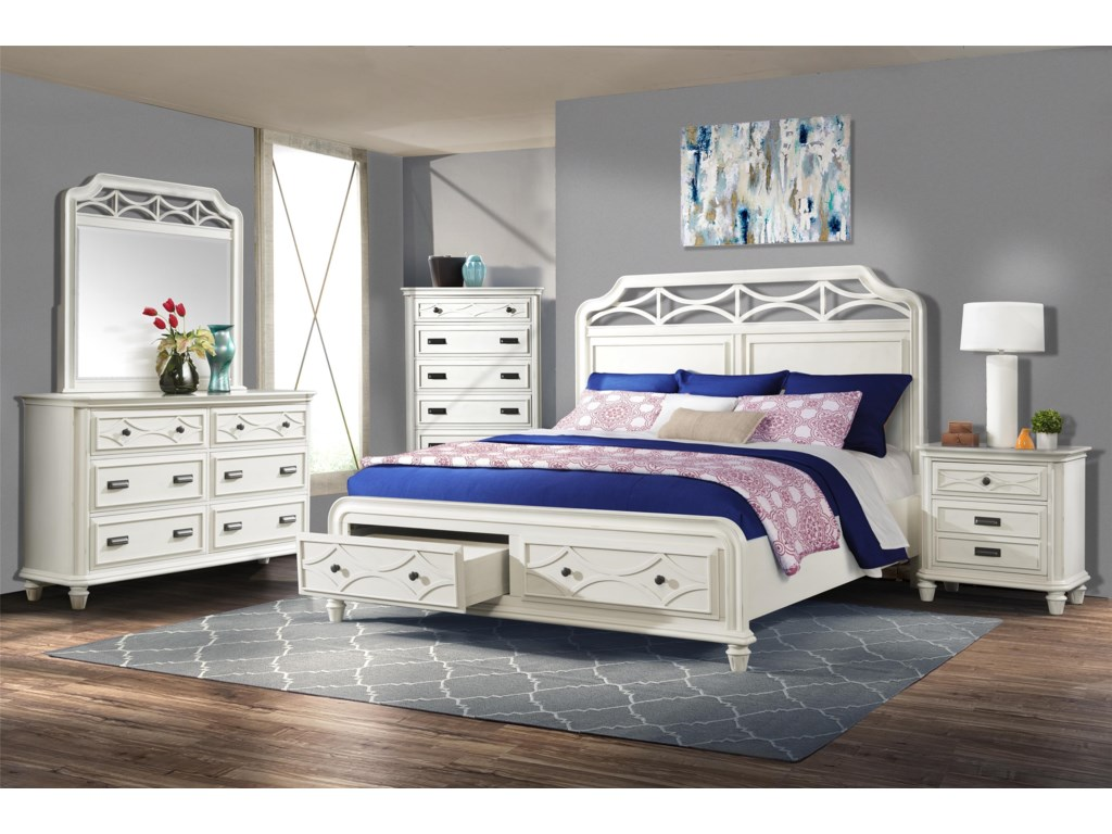 Elements International Mystic Bay4 Piece White Bedroom Set