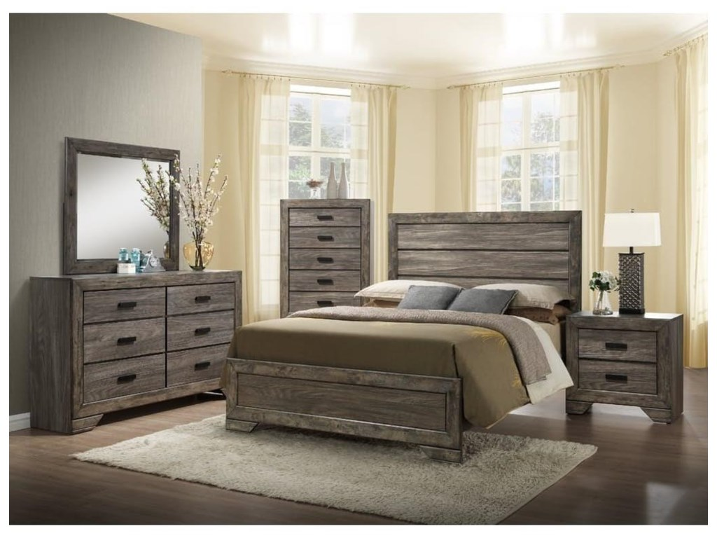 Elements International NathanKing Panel Bed, Dresser, Mirror & Nigtstand