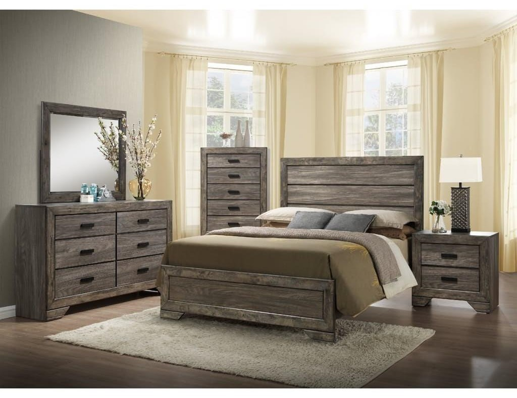 Elements International NathanQueen Panel Bed, Dresser, Mirror U0026 Nightstan
