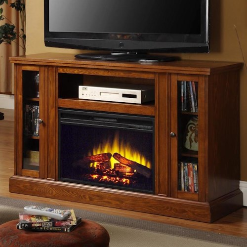 Elements International Occasional Accents Elements Rogan Fireplace And Tv Stand With Two Glass