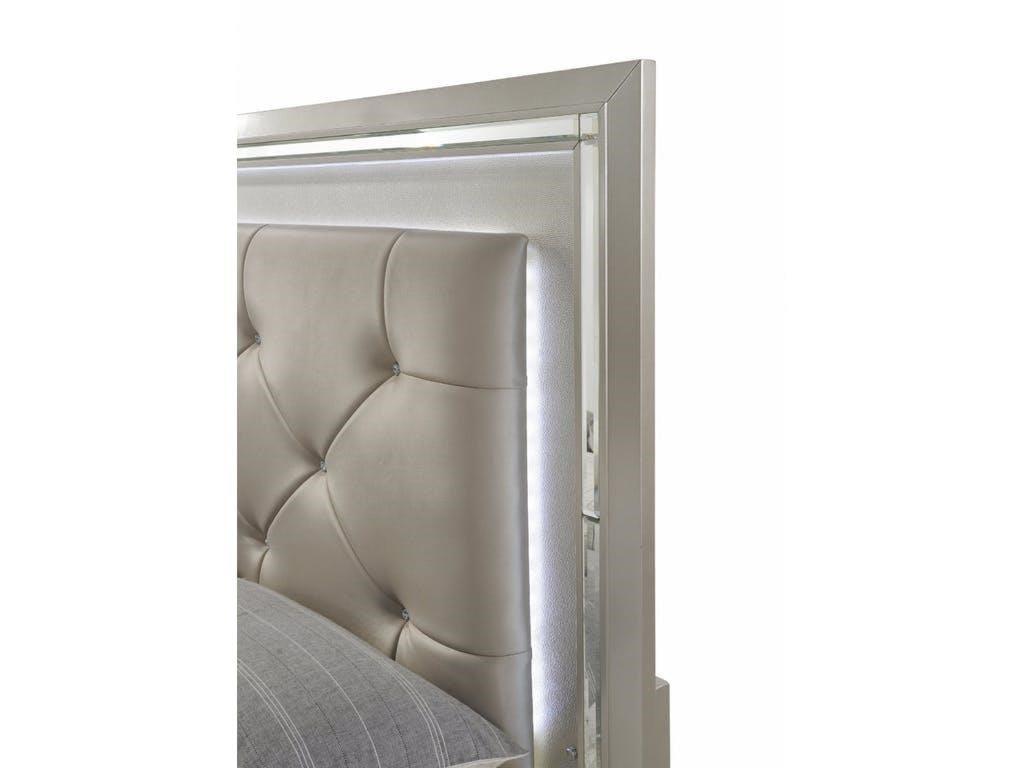 Elements International PlatinumQueen Bedroom Group w/Mood Lighting