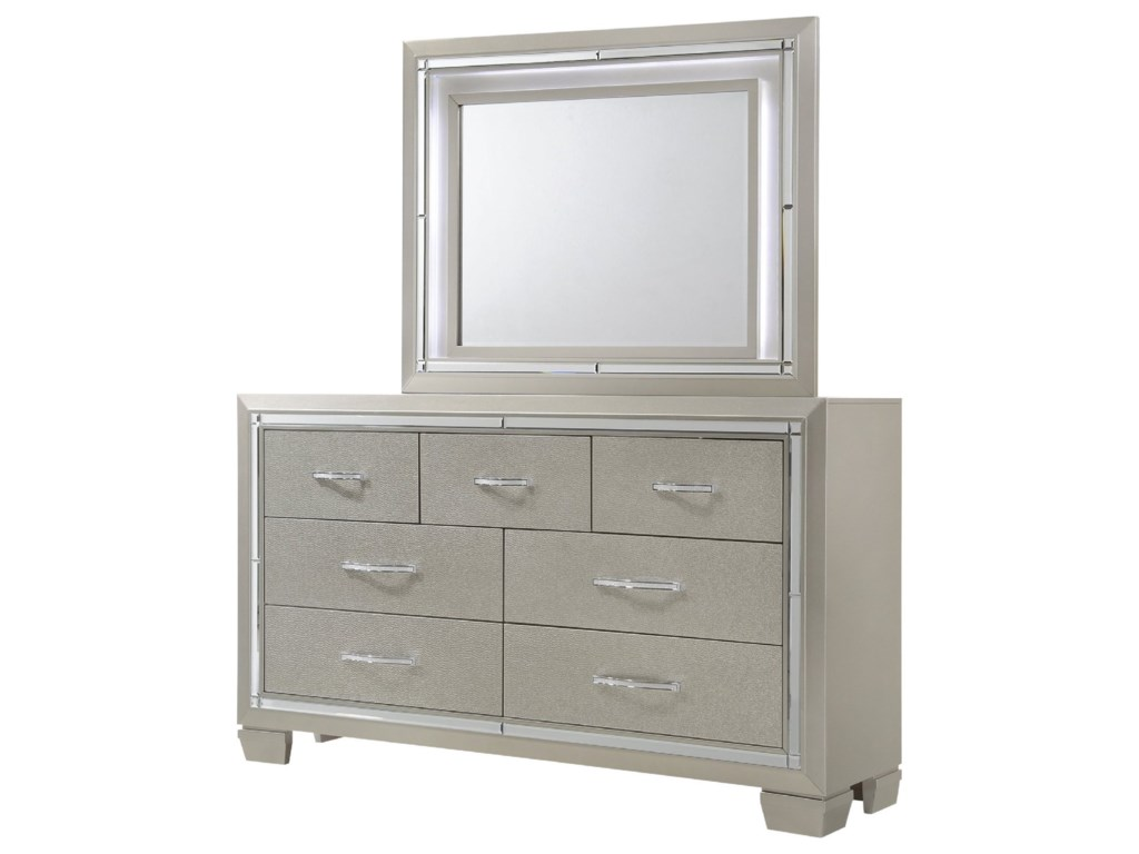 Elements International PlatinumDresser and Mirror Set