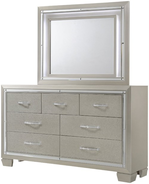Elements International Platinum Dresser and Mirror Set with Mood Lighting