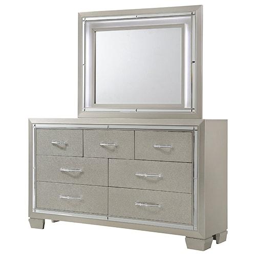 Elements International Platinum Dresser and Mirror Set with Mood Lighting