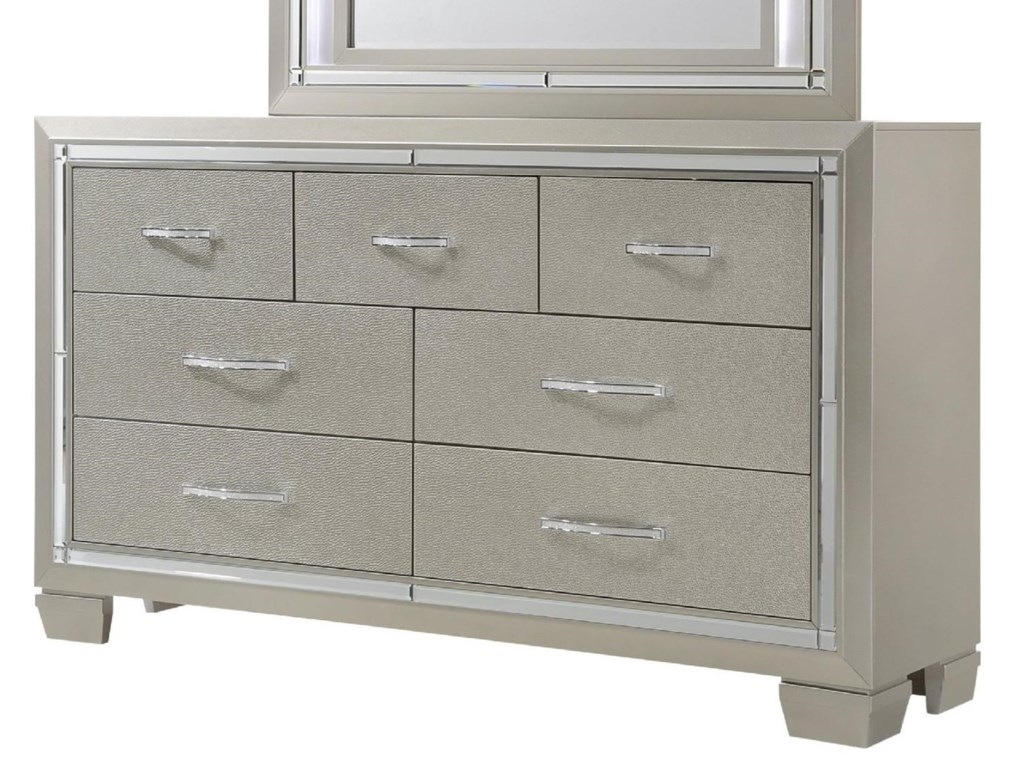 Platinum dresser with champagne finish and mirror trim by elements international