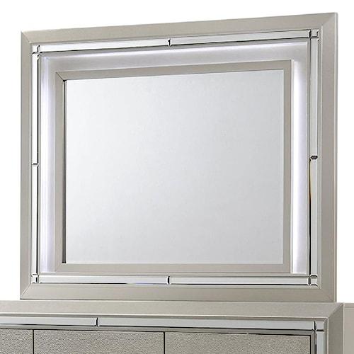 Elements International Platinum Dresser Mirror with Built in Mood Light