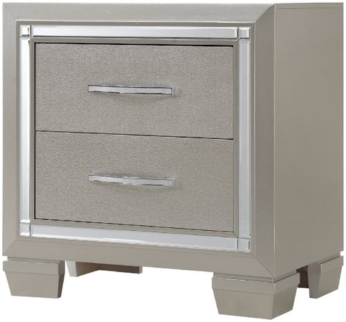 Elements International Platinum NIghtstand with Champagne Finish and Mirror Trim