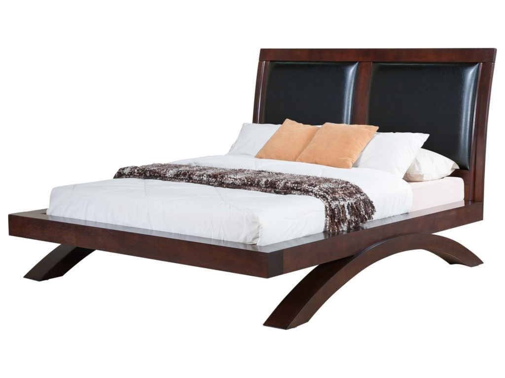 Elements International RavenKing Faux Leather Headboard Platform Bed