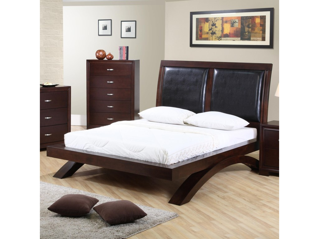 Elements International RavenKing Leather Headboard Platform Bed