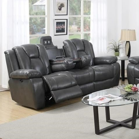 Elements International Salem Power Reclining Sofa With Drop Down
