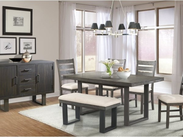 Elements International Sawyer Dining Group With Bench