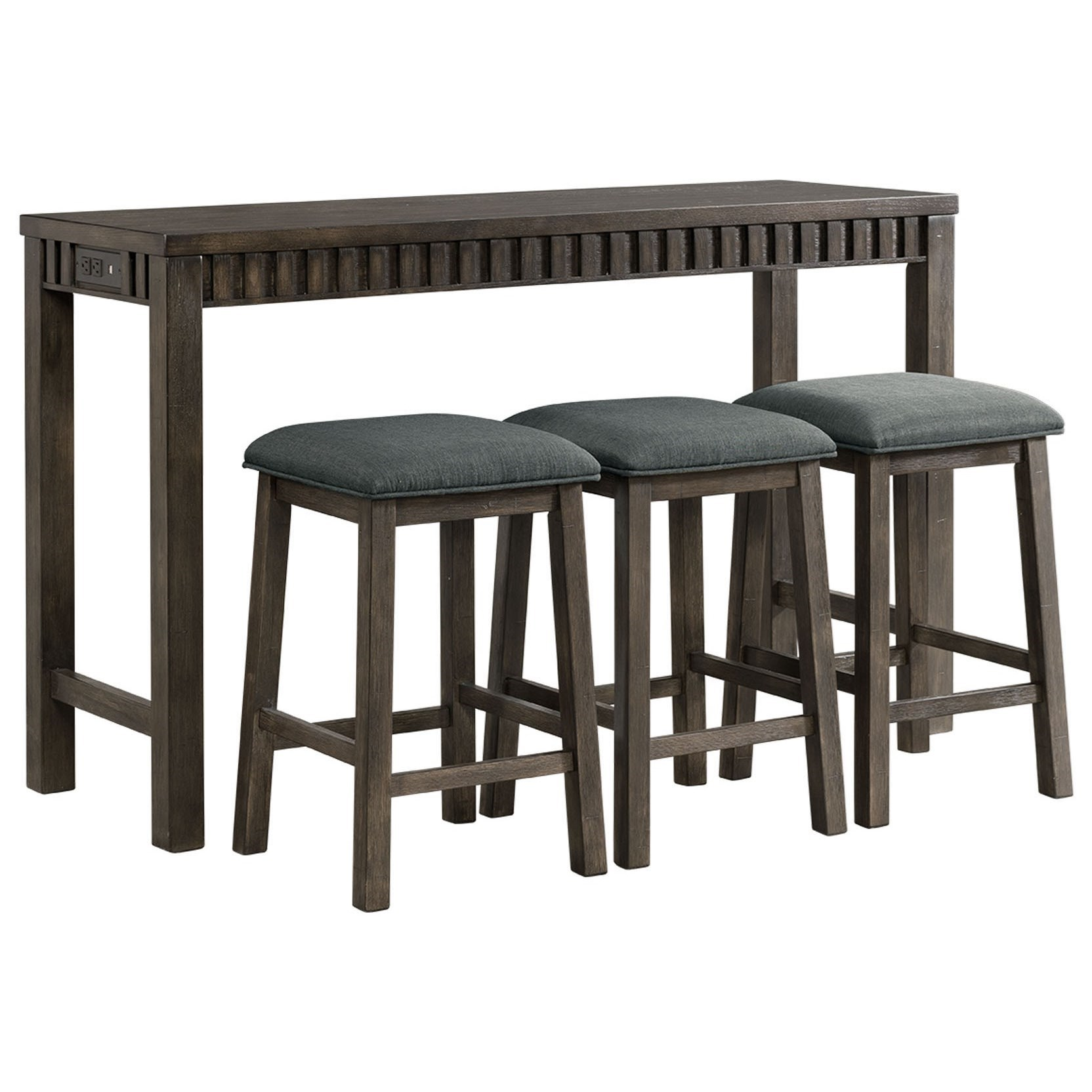 Picture of: Elements Shelter Bay Transitional Counter Height Multipurpose Bar Table Set With Usb Port Royal Furniture Pub Table And Stool Sets