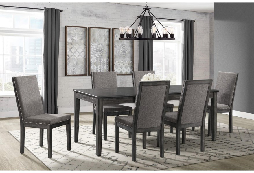 Elements International South Paw Transitional 7 Piece Dining Set With Extension Leaf Lindy S Furniture Company Dining 7 Or More Piece Sets
