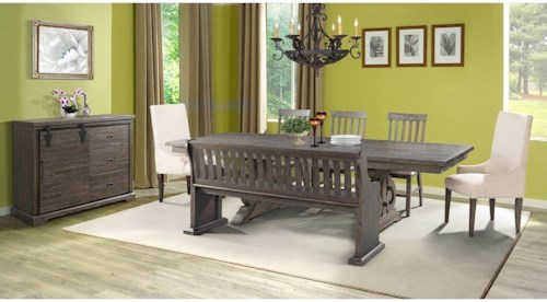 Elements International Stone Dining Room Group With Bench