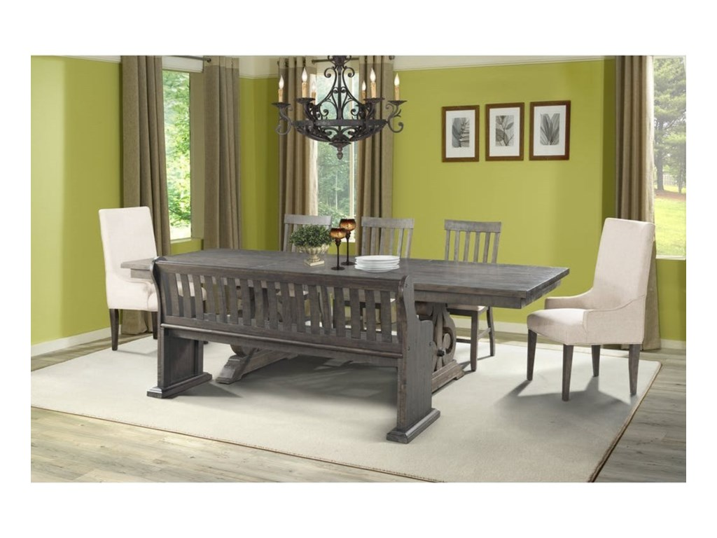 Elements International Stonedining Table Set With Bench