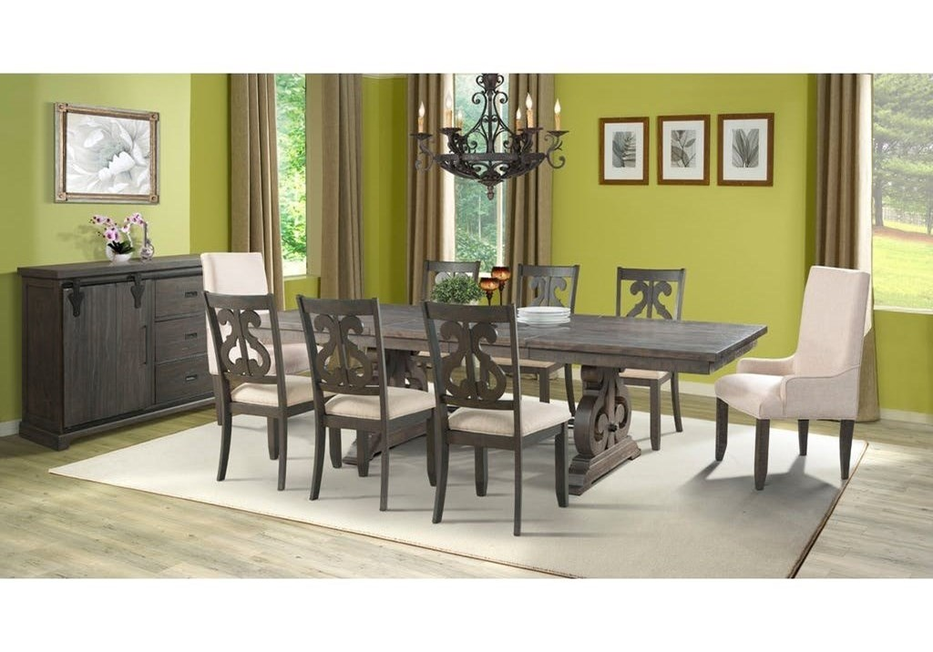 Stone Dining Table With Decorative Scroll Pedestal By Elements International