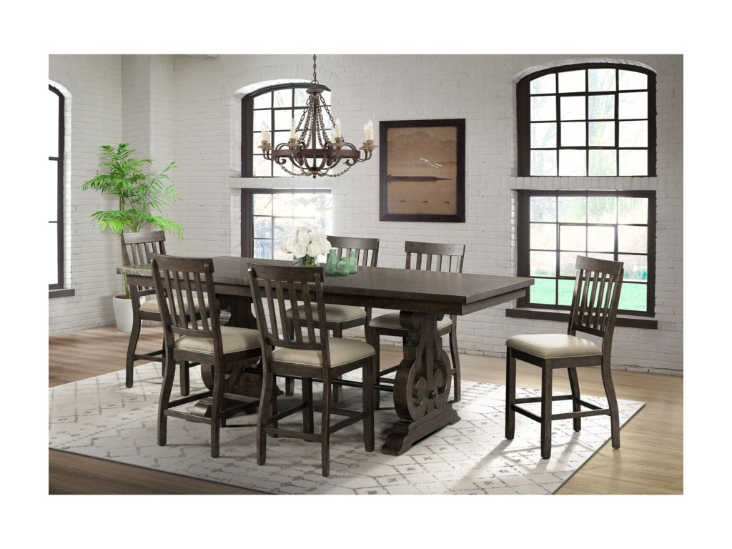 Elements International Stone7-Piece Counter Height Dining Set