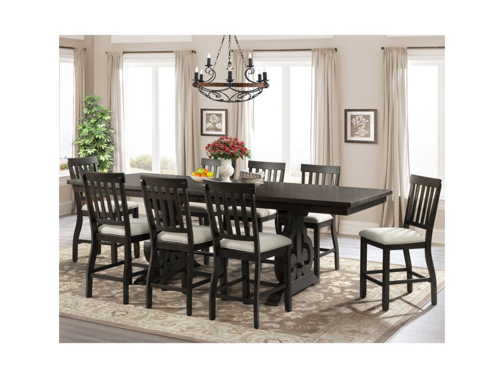 Elements International Stone9-Piece Counter Height Dining Set