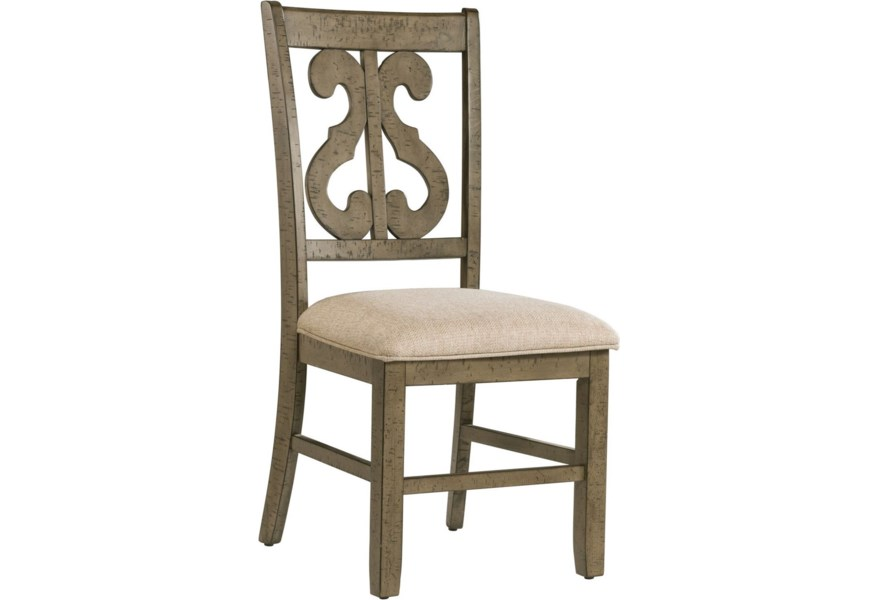 Elements International Stone Scroll Back Dining Side Chair Bullard Furniture Dining Side Chairs