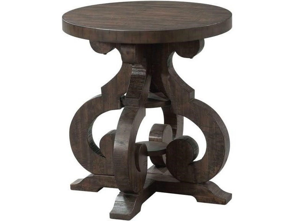 Elements international stone tst100et round end table with scrolled pedestal base household furniture end tables