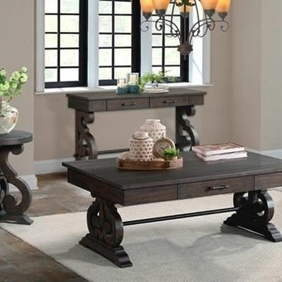 Elements International Stone Sofa Table with Scrolled Pedestal Base