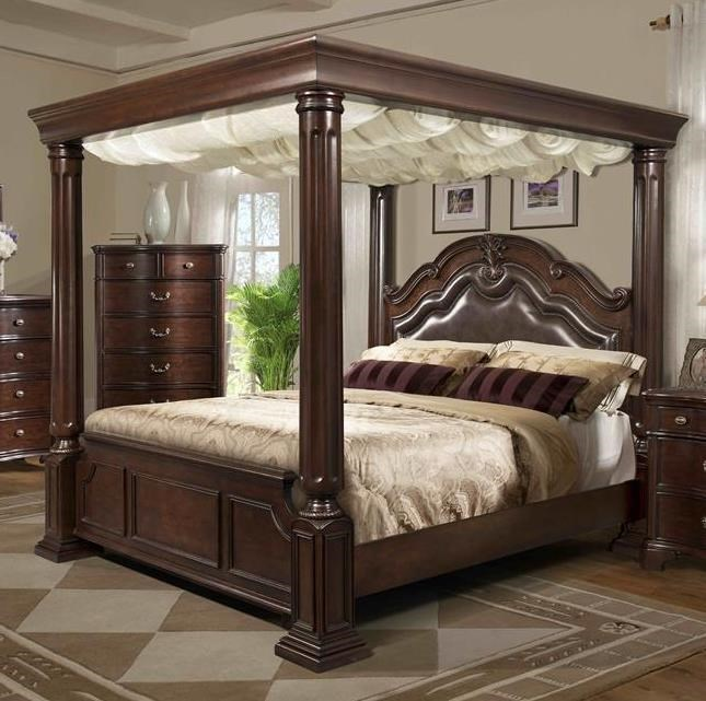 King Canopy Bed Frame Part - 19: Elements International Tabasco King Canopy Bed - Great American Home Store  - Canopy Bed