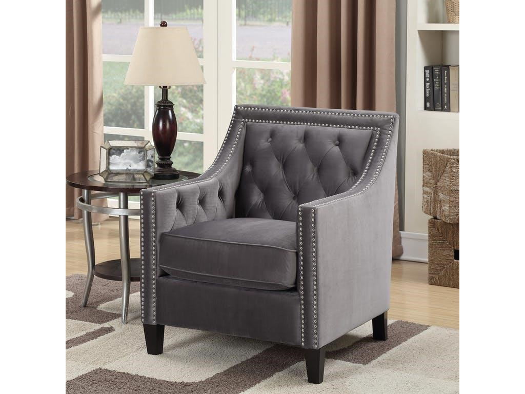 Elements International Tiffany Chair Accent Chair With Nailhead Trim