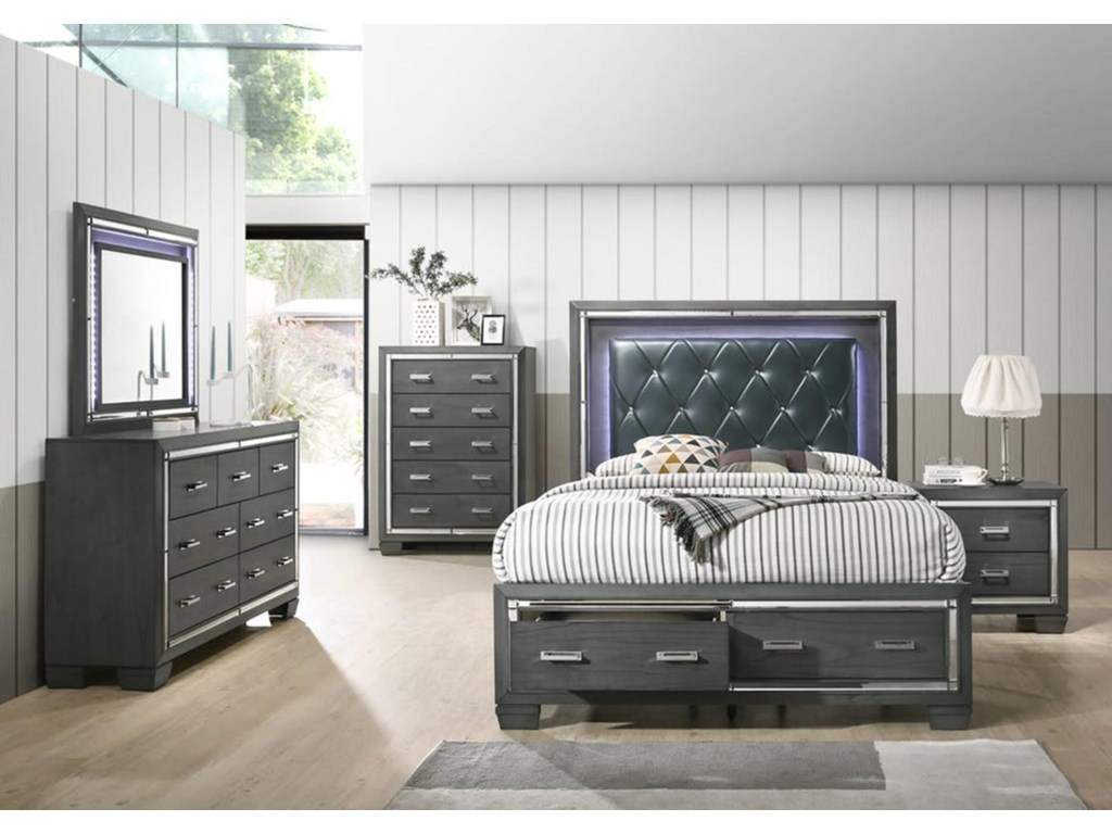 Elements International Aniumled Queen Storage Bedroom Group