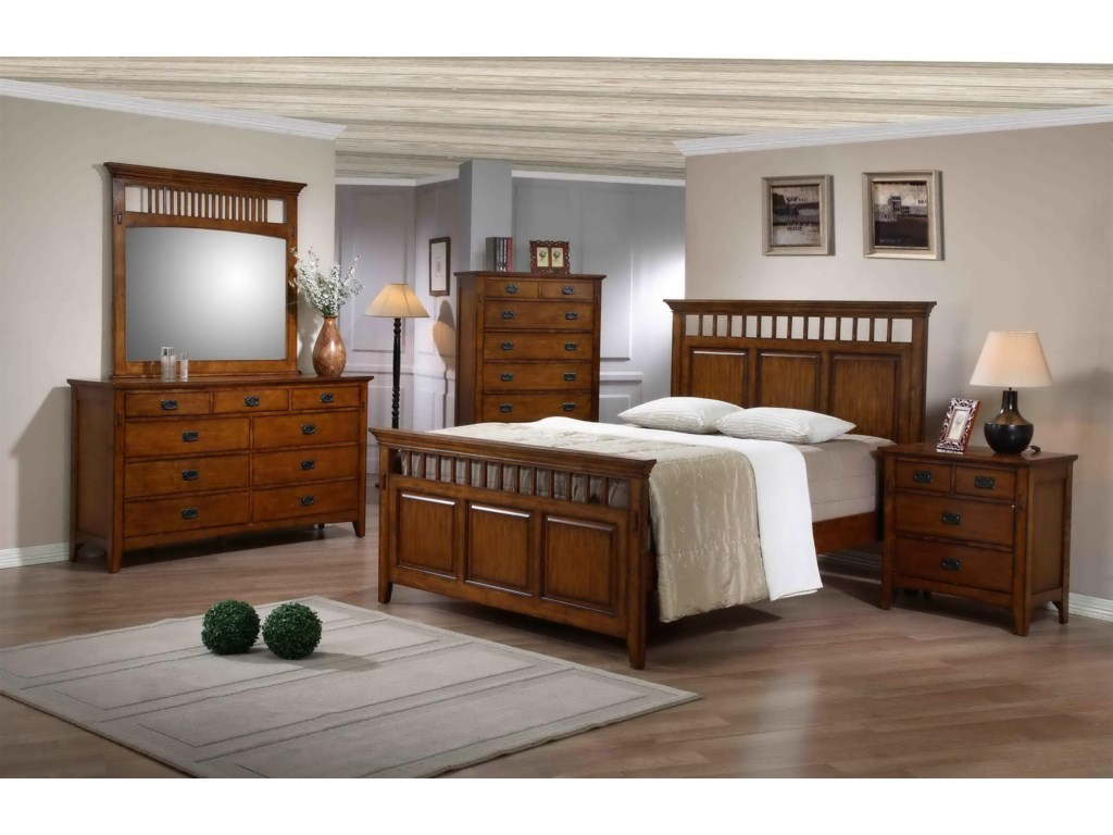 Shown in Room Setting with Dresser, Mirror, Chest, and Nightstand