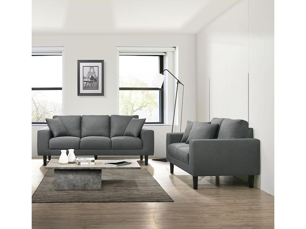 USP Grey Sofa and Loveseat Set