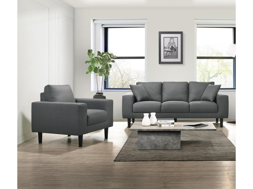 Elements International Apollo Midnight USP-3450-302PL+101 Grey Sofa And Chair Living Room Set | Sam Levitz Furniture | Stationary Living Room Groups